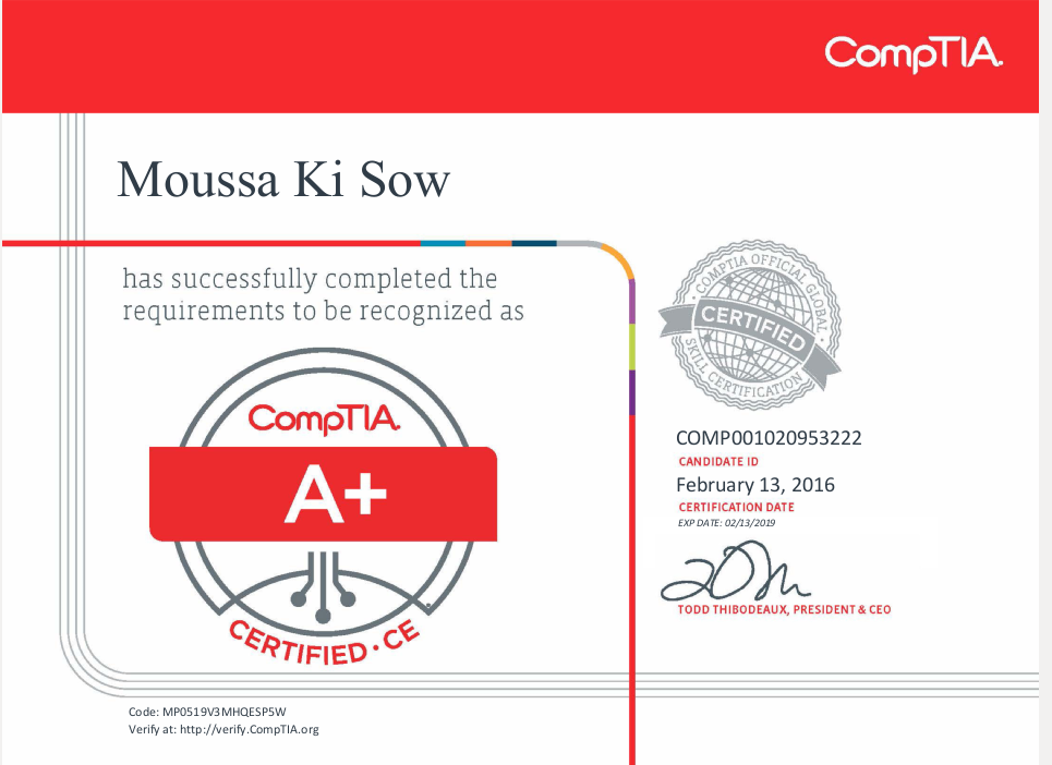 Moussa Ki Sow Comptia A+ certiificate