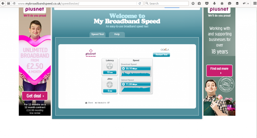 Download speed: 33.10 Mbps and Upload:11.23 Mbps